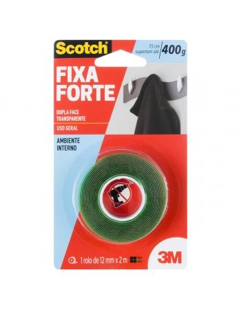 FITA DUPLA FACE 3M SCOTCH FIXA FORTE TRANSPARENTE - 12 MM X 2 M