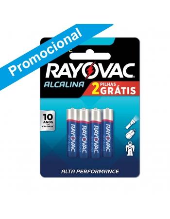 PILHA ALCALINA RAYOVAC AAA LEVE 6 PAGUE 4
