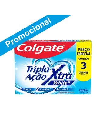 CREME DENTAL COLGATE TRIPLA AÇÃO XTRA WHITE 70G PROMO LEVE 3 PAGUE 2