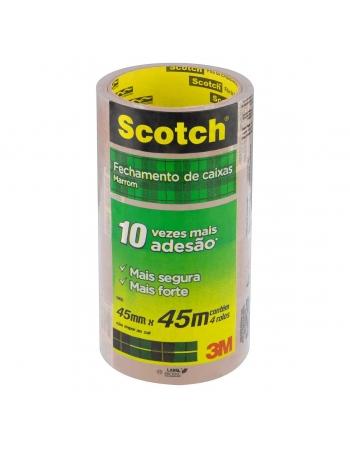 FITA DE EMPACOTAMENTO SCOTCH HOT MELT TRANSPARENTE 45 MM X 45 M - 4 ROLOS