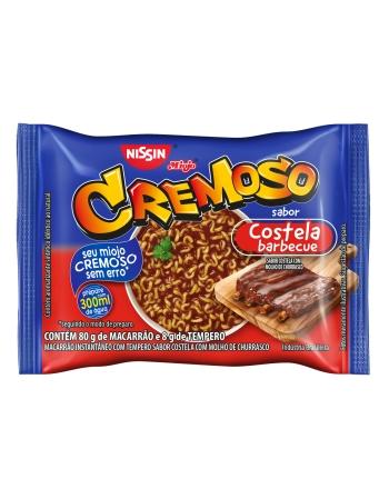 NISSIN LÁMEN CREMOSO SABOR COSTELA COM MOLHO DE CHURRASCO 88G